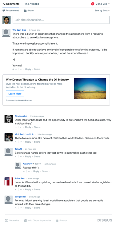 In-thread native ad on Disqus