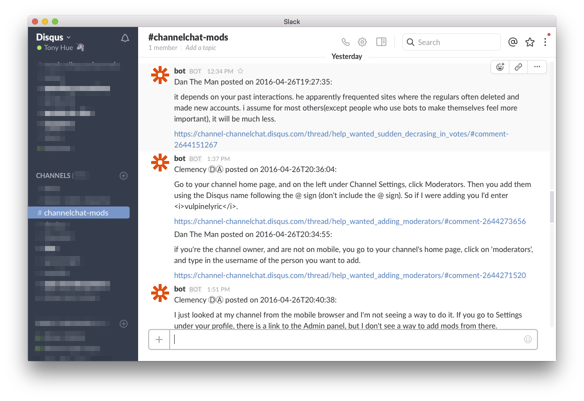 How to use Slack to supercharge your Disqus moderation
